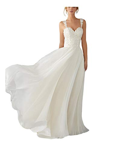 Andybridal A Line Spaghetti Straps Sweetheart Lace Chiffon Bridal Gowns Beach Wedding Dress White 4