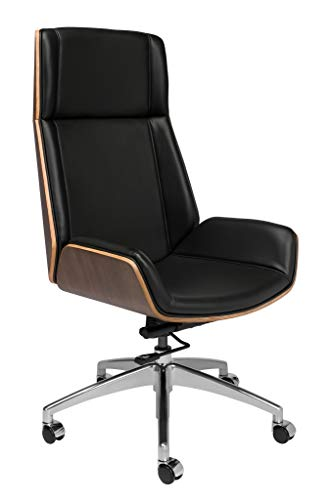Manhattan Mid Century Eames Style Office Chair with Vegan Leather and Wood (Tall Back, Black)
