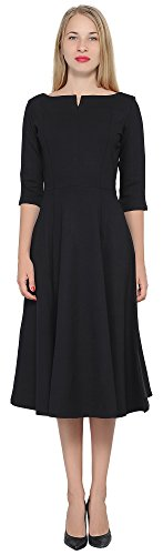 Black Designer Dress - Marycrafts Women's Fit Flare Tea Midi Modest Dress for Office Business Work 0 Black