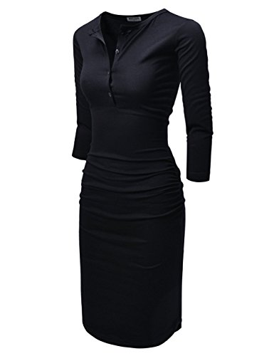 - NEARKIN (NKNKWMD721 Womens Figure Hugging Shirred 3/4 Sleeve Henley Midi Dress Black US XXS(Tag Size XS)