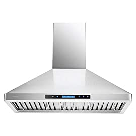 """CAVALIERE 36"""" Inch Wall Mounted Stainless Steel Kitchen Range Hood 900 CFM 106 900 CFM: More powerful then most competitors, this exhaust system is made for heavy duty cooking that removes grease, odors and potentially toxic pollutants from the air in your kitchen Designed with a Whisper quiet single chamber centrifugal blower. The noise level is at 25 decibels on the lowest setting and 56 decibels on the highest speed setting. Built to Last: Commercial grade heavy duty 19 gauge stainless steel construction is non-magnetic and rust proof with a brushed finish. 6"""" inch round ducting comes from the top of the range hood and a adjustable chimney accommodates a 8' ft to 9' ft ceiling. If your ceiling height is above 9' ft, then a higher chimney extension is required. ( Sold Separately)"""