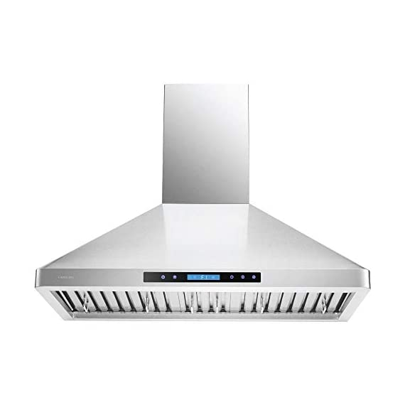 """CAVALIERE 36"""" Inch Wall Mounted Stainless Steel Kitchen Range Hood 900 CFM 1 900 CFM: More powerful then most competitors, this exhaust system is made for heavy duty cooking that removes grease, odors and potentially toxic pollutants from the air in your kitchen Designed with a Whisper quiet single chamber centrifugal blower. The noise level is at 25 decibels on the lowest setting and 56 decibels on the highest speed setting. Built to Last: Commercial grade heavy duty 19 gauge stainless steel construction is non-magnetic and rust proof with a brushed finish. 6"""" inch round ducting comes from the top of the range hood and a adjustable chimney accommodates a 8' ft to 9' ft ceiling. If your ceiling height is above 9' ft, then a higher chimney extension is required. ( Sold Separately)"""