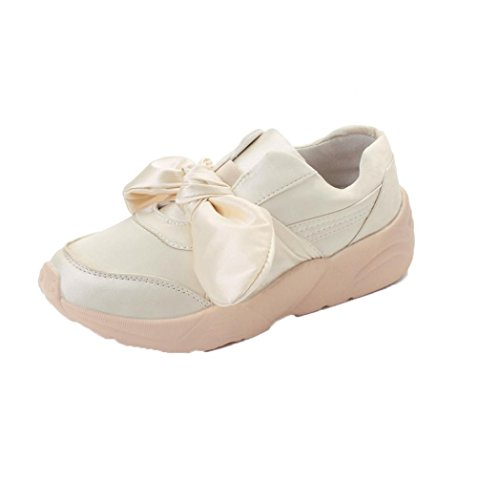 Espadrille Silk (Besde Women Sneakers Espadrilles Bow-Knot Flats Silk Bow Woman Round Shoes (36, Beige))