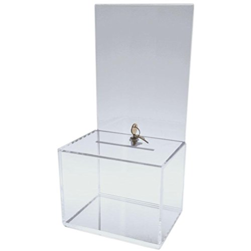 Dazzling Displays Clear Medium-Sized Acrylic Donation Box with Cam Lock and (2) Keys