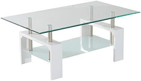 Amazon.com : HomCom Contemporary Modern Glass / Chrome High Gloss Coffee  Table   White : Garden U0026 Outdoor