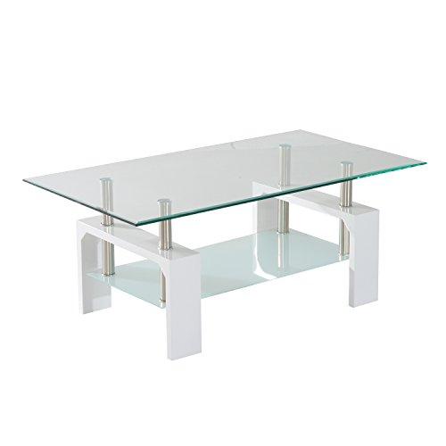 HomCom Contemporary Modern Glass / Chrome High Gloss Coffee Table   White