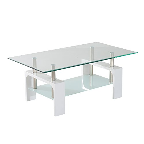 HomCom Contemporary Modern Glass / Chrome High Gloss Coffee Table - White