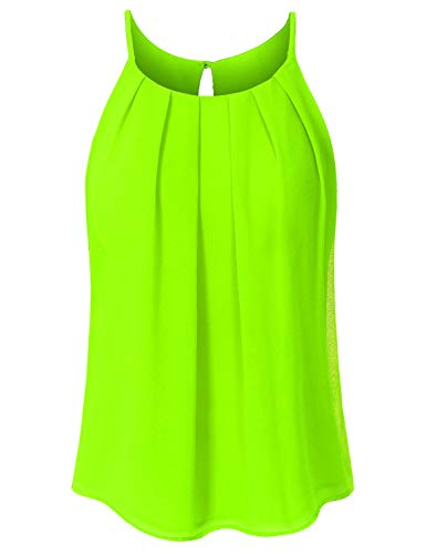 JSCEND Women's Round Neck Pleated Double Layered Chiffon Cami Tank Top A-NEONLIME M ()