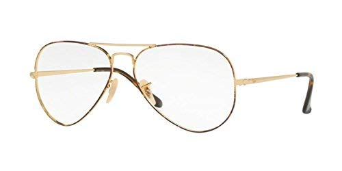 Ray-Ban Unisex RX6489 Aviator Eyeglasses Gold Top On Havana ()