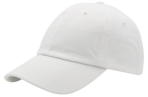 White Cotton Adjustable Hat - BRAND NEW 2016 Classic Plain Baseball Cap Unisex Cotton Hat For Men & Women Adjustable & Unstructured For Max Comfort Low Profile Polo Style  Unique & Timeless Clothing Accessories By Top Level, White, One Size