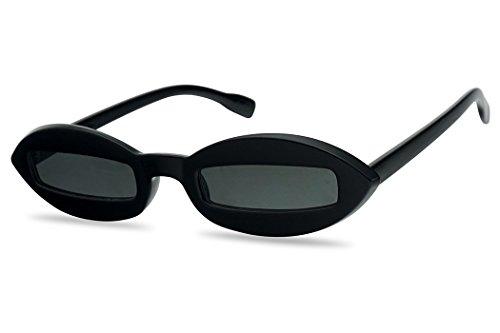 Super Small Slim Narrow Mens Bad Bunny Black Low Pro Pointed Oval Sunglasses (Black Frame   ()
