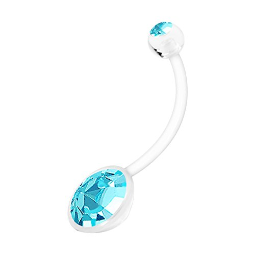 BanaVega Flexible Bioflex Extra Long Pregnancy Belly Button Ring 14 Gauge 19mm Aquamarine Crystal Navel Piercing Stud 1197 -