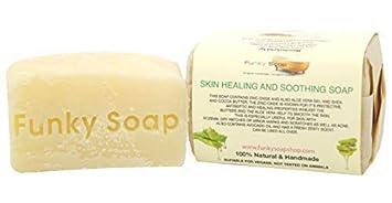 Funky Soap Piel Curación y Calmante Jabón 100% Natural Artesanal, 1 Barra de 120G