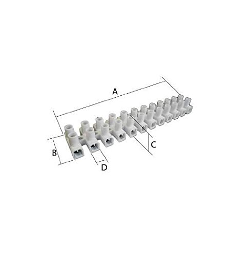 KPS 701150001 Regletas de Conexió n en Polipropileno, 6 Secció n mm² , Mí nimo, 500 Contenido Embalaje, Blanco, Juego de 10 6 Sección mm² Mínimo