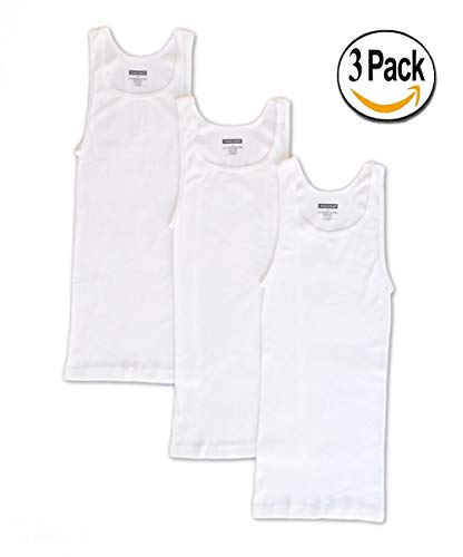 Goza Cotton Men's Tagless A-Shirt Undershirt Top Tank Athletic Fit White (3 Pack) (X-Large) by Goza
