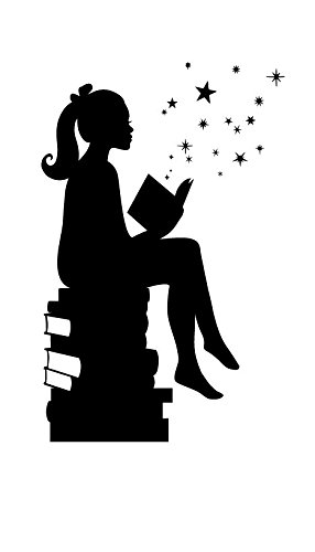 Girl-Reading-Books-Magic-Facing-Right-Small-Black-Vinyl-Wall-Art-Decal-for-Homes-Offices-Kids-Rooms-Nurseries-Schools-High-Schools-Colleges-Universities