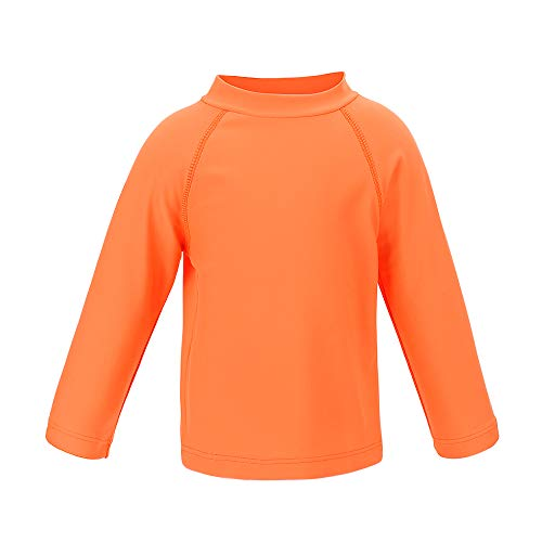 Boys' Long Sleeve Rashguard Swimwear Rash Guard Athletic Tops Swim Shirt UPF 50+ Sun Protection, Orange 2T]()