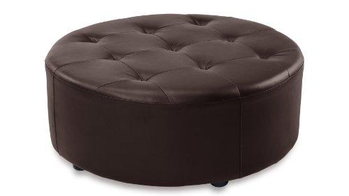 Lock Round Modern Tufted Ottoman - Brown by Zuri Furniture