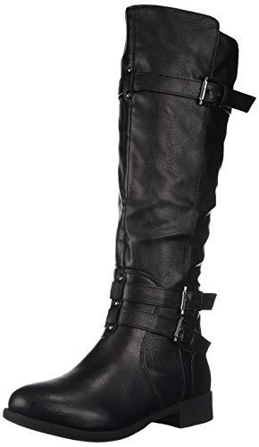 Brinley Co Women's Buffalo Motorcycle Boot Black