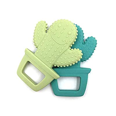 Baby Teether 1pc Cute Cactus Pendant Food Grade Silicone Teether Making Jewelry Necklace Teething Toys (Green): Toys & Games