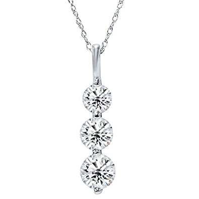 Amazon huge 200ct real 3 stone diamond pendant past present huge 200ct real 3 stone diamond pendant past present future 14k white gold new aloadofball