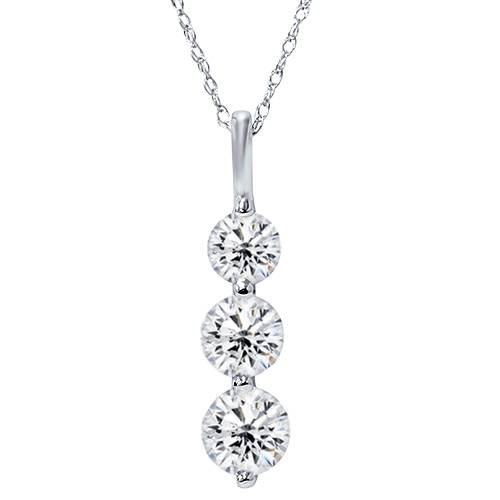 Huge 2.00ct Real 3 Stone Diamond Pendant Past Present Future 14K White Gold New ()