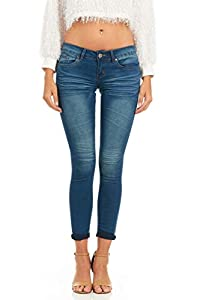 Cover Girl Basic Cuffed Skinny Jeans for Women Juniors and Plus Size
