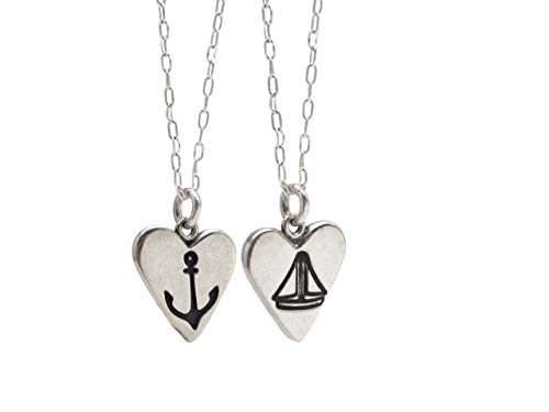 (Sterling Silver Boat and Anchor Necklace on Sterling Silver Cable Chain)