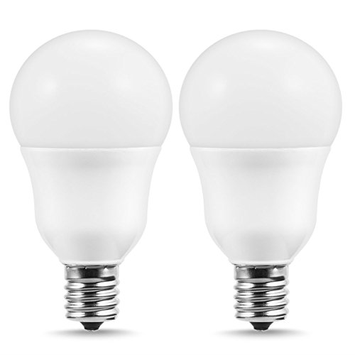 DORESshop E17 Base Light Bulb, 5W(60W Equivalent), Soft White 3000K, A15 Shape, 650Lumens, Slender LED Bulbs for Ceiling Fan, Headboard Reading Lighting, Intermediate E17 Base(2 Pack)