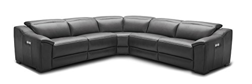J and M Furniture 18775-DG Nova Dark Grey Power Reclining Motion Leather Sectional (Recliner Motion Armless)