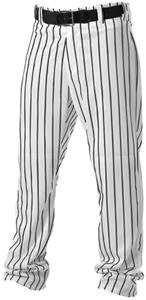 Alleson Athletic Adult Pinstripe Baseball Pants- White/Black, 2X-Large ()