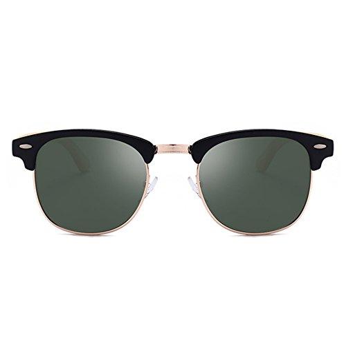 Classique Worclub de jambe en Rétro demi UV400 bois miroir soleil Protection lunettes Argent Windbreaker Polarized trame Noir q1C1d