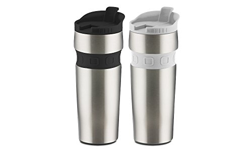 Hamilton Beach Hamilton Beach Contour Grip Stainless Steel Travel Mug Set (2 Pack), 14 oz, Black/White