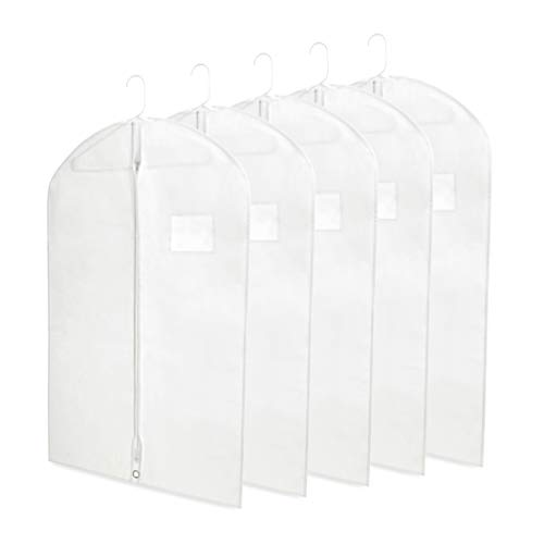"Breathable 40"" White Garment Bags for Storage of Suits or Dresses, Dance and Recital Costumes with Zipper & Transparent Window (Pack of 5) by Plixio"