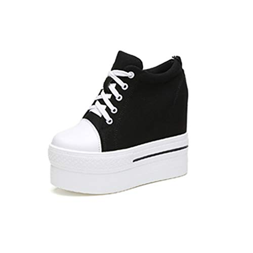 Spice Girl Shoes - YC WELL Womens Wedge Platform Sneaker Flat Canvas Shoes Lace Up Platform Sneakers(Black,5.5)