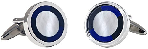 - David Van Hagen Mens Circle Mother of Pearl and Onyx Cufflinks - Silver/Blue/White