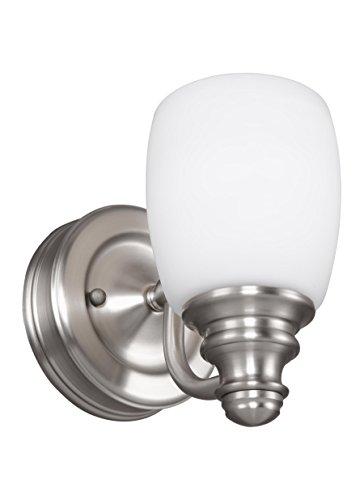 Feiss VS7401-SN Bentley Glass Wall Sconce Lighting, Satin Nickel, 1-Light (5