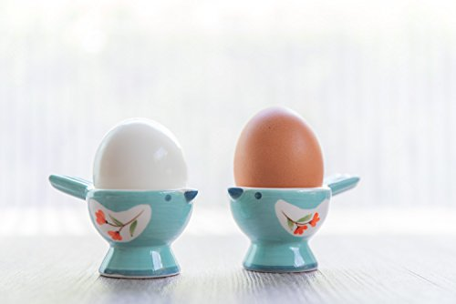 2 Pack Bird Cups - WD- FB38-2 Pcs Cute Bird Shape Ceramic soft or Hard boiled egg cup holder (Egg holder) - for Breakfast Brunch Soft Boiled Egg Holder Container Stand Set Sky color