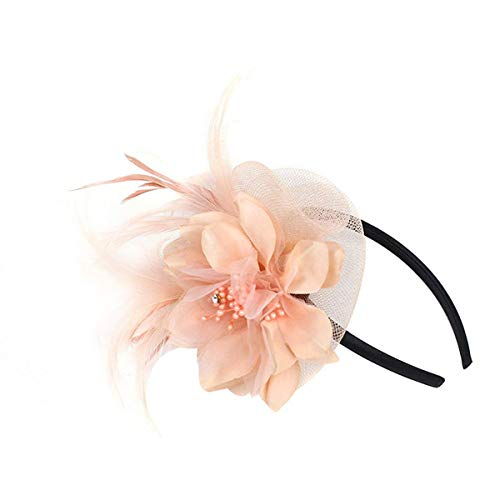 Hilary Ella Netting Feathers Big Flower Headband Party Girls Women Fascinator Headwear Cocktail Hat Head Decoration (Nude Pink) -