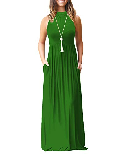 Chic-Lover Women's Loose Plain Maxi Dress Casual Flowy Vacation Long Dresses with Pockets (S, 1911-Green) ()