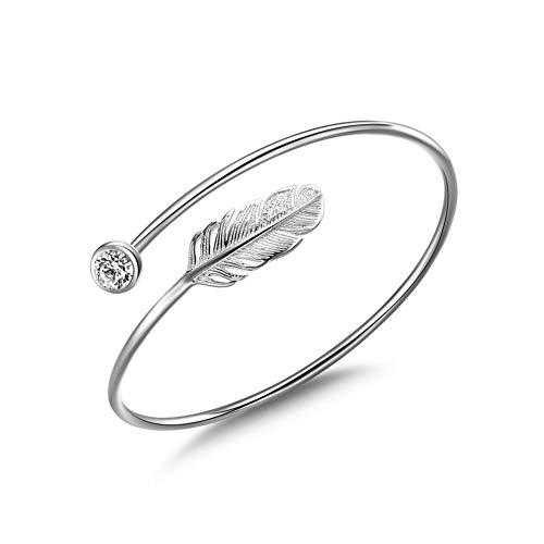 Jenny-BaBy Women Bracelet Vintage Style Adjustable Leaf Feather Bangle (Silver Color Bracelet with Zircon)