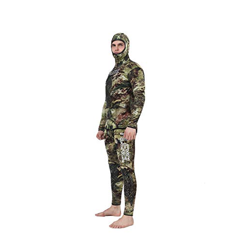 Flexel Camo Spearfishing Wetsuits Men Premium Camouflage Neoprene 2-Pieces Hoodie Freediving Fullsuit for Scuba Diving Snorkeling Swimming (5mm Grass camo, 2X-Large) by Flexel (Image #6)