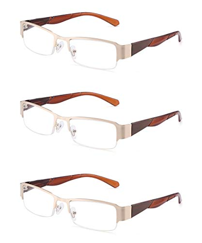 (JM 3 Pack Semi Rimless Reading Glasses Rectangular Spring Hinge Readers for Men Women +2.5 Gold Brown )