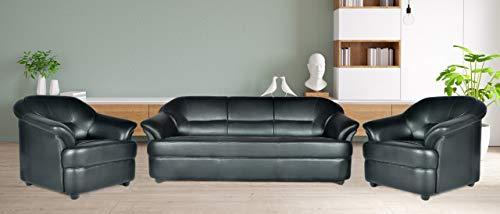 Home Comfort Knight Sofa Fabric 3+1+1 Seater Sofa Set  Black