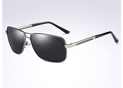 de Gafas Guía silver TL en Gafas para de gray Sol la Sunglasses Cuadrado Negro Aleación Hombres de Hombres Gris Gafas Plata gray Bastidor Sol polarizadas del Macho wYfq0a