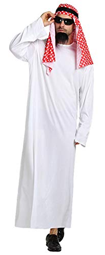 SATUKI Men's Arab Prince Costume Halloween Dubai Sheik Costume(Free -