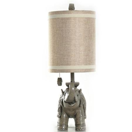 19 Durable Poly Resin Finish Pull Chain Elephant Table Lamp Gray Home Garden Decor Finials