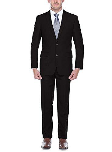 (Men's Classic Fit Two-Button Solid Two-Piece Suit (TT-BLK-R40) Black)