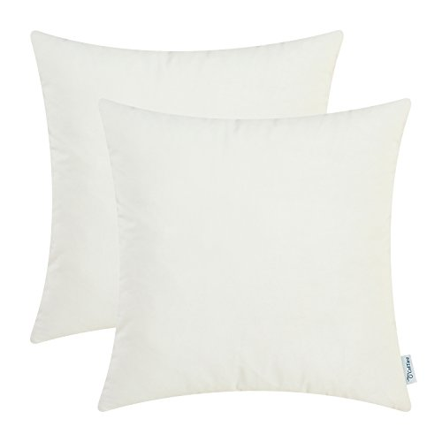 (CaliTime Pack of 2 Cozy Throw Pillow Covers Cases for Couch Sofa Bed Solid Ultra Soft Gorgeous Velvety Faux Cashmere 18 X 18 Inches Ivory/Cream)