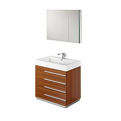 """Fresca FVN8030TK-FFT9161CH Livello Modern Bathroom Vanity with Medicine Cabinet, 30"""", Teak - Dimensions of Vanity: 29.38""""W x 18.75""""D x 33.5""""H Dimensions of Medicine Cabinet: 29.5""""W x 26""""H x 5""""D Materials: MDF with Acrylic Countertop/Sink with Overflow - bathroom-vanities, bathroom-fixtures-hardware, bathroom - 31N1yHrqCuL. SS400  -"""